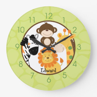 Bright Safari Jungle Wall Clcok Large Clock