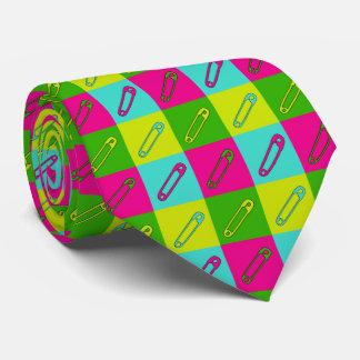 Bright safety pins modern art tie