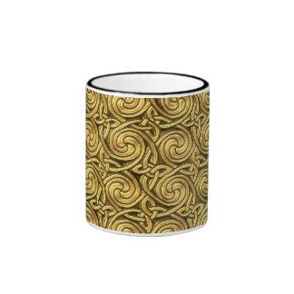 Bright Shiny Golden Celtic Spiral Knots Pattern Mug