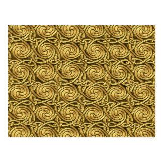 Bright Shiny Golden Celtic Spiral Knots Pattern Post Card