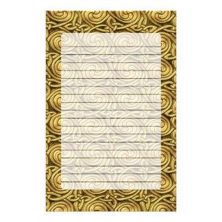 Bright Shiny Golden Celtic Spiral Knots Pattern Custom Stationery