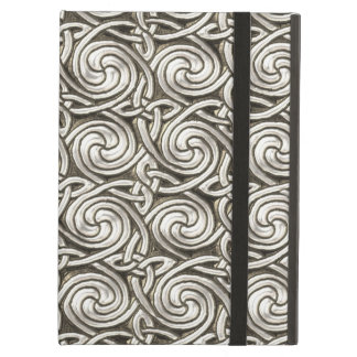 Bright Shiny Silver Celtic Spiral Knots Pattern iPad Air Cover