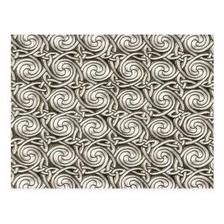 Bright Shiny Silver Celtic Spiral Knots Pattern Postcard