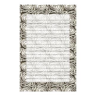 Bright Shiny Silver Celtic Spiral Knots Pattern Personalized Stationery