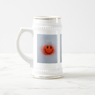 Bright  Smiley Face in Snow Beer Stein