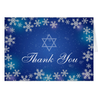 Bright Snowflake Blue Winter Bat Mitzvah Thank You Card