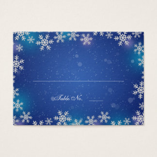 Bright Snowflakes Blue Table Seating Place Cards