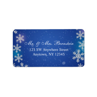 Bright Snowflakes Blue Winter Address Label