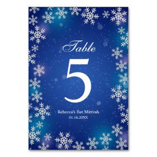 Bright Snowflakes Blue Winter Bat Mitzvah Table Card