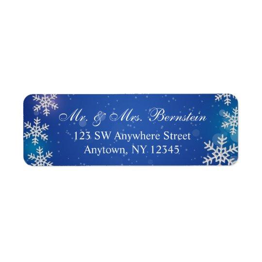 Bright Snowflakes Blue Winter Return Address Return Address Label
