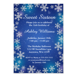 Bright Snowflakes Blue Winter Wonderland Sweet 16 Card
