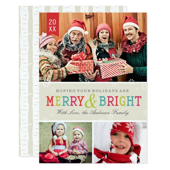 Bright Snowflakes Holiday Photo Card