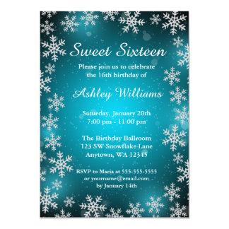 Bright Snowflakes Teal Winter Wonderland Sweet 16 Card