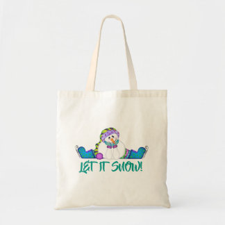 Bright Snowmen LET IT SNOW! Tote Bag