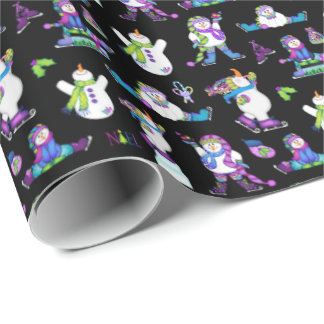 Bright Snowmen LET IT SNOW! Wrapping Paper