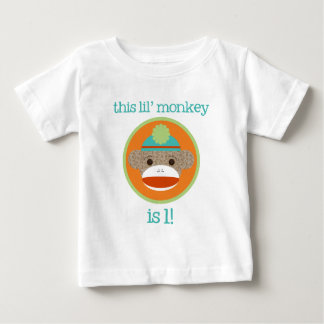 Bright Sock Monkey: First Birthday Baby T-Shirt