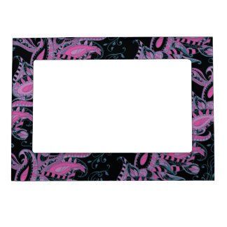 Bright sophisticated paisley floral pattern photo frame magnet
