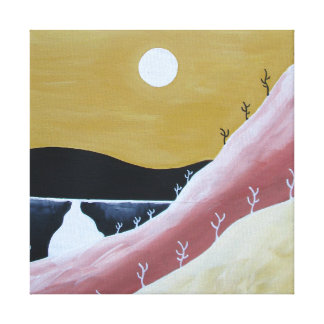 Bright Southwest Desert Folk Art Canvas Print