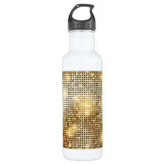 Bright sparkling golden sequin glitters disco ball 710 ml water bottle