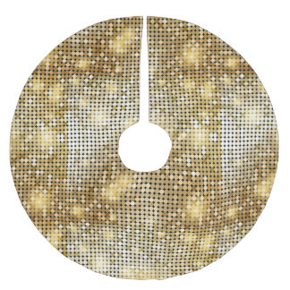 Bright sparkling golden sequin glitters disco ball brushed polyester tree skirt
