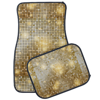 Bright sparkling golden sequin glitters disco ball car mat
