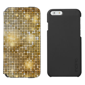Bright sparkling golden sequin glitters disco ball incipio watson™ iPhone 6 wallet case