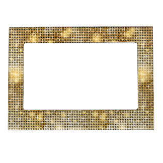 Bright sparkling golden sequin glitters disco ball magnetic picture frame
