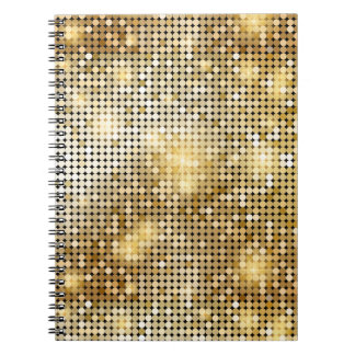 Bright sparkling golden sequin glitters disco ball notebooks