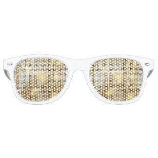 Bright sparkling golden sequin glitters disco ball retro sunglasses