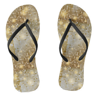 Bright sparkling golden sequin glitters disco ball thongs