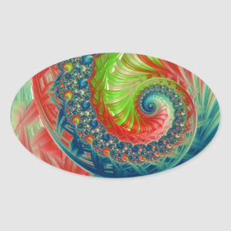 Bright Spiral Oval Sticker