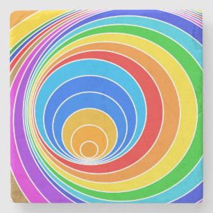 Bright Spiral Vortex Abstract Stone Coaster