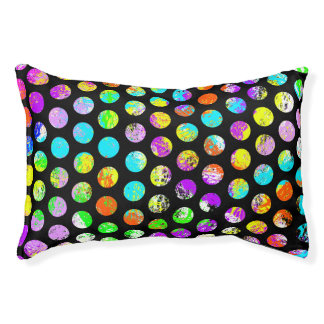 Bright Spots On Black Pattern Pet Bed