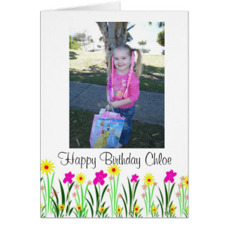 Bright spring flowers custom Chloe birthday gift Card