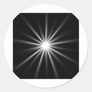 bright star in dark space round sticker