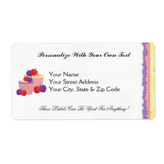 Bright Strawberries And Cupcakes Art Shipping Label