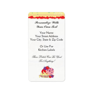 Bright Strawberries And Ice Cream Art Label