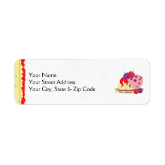 Bright Strawberries And Ice Cream Art Return Address Label