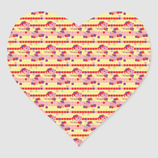 Bright Strawberry Sweet Treats Pattern Heart Sticker