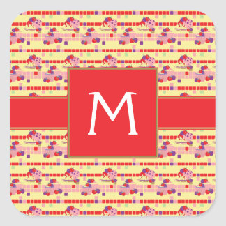 Bright Strawberry Sweet Treats Pattern - Initial Square Sticker