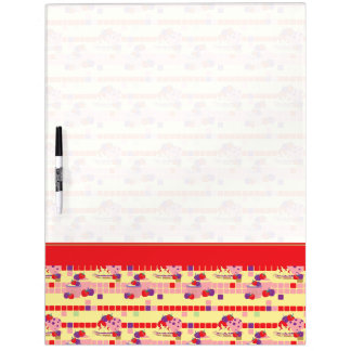 Bright Strawberry Sweet Treats Pattern With Border Dry Erase Board