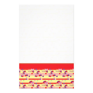 Bright Strawberry Sweet Treats Pattern With Border Stationery