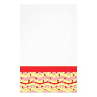 Bright Strawberry Swirl Chevron Pattern - Border Stationery