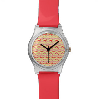 Bright Strawberry Swirl Chevron Pattern Watch