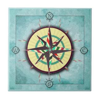 Bright Stripe Nautical Compass Ceramic Tile