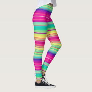 Bright Stripe Queer Support LGBTQ Running Warm Leggings