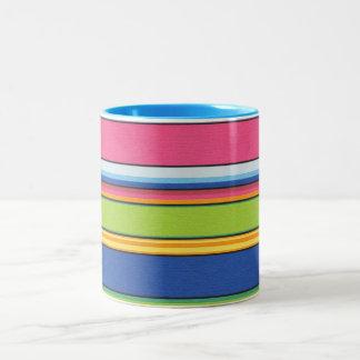 Bright Striped Two-Tone Coffee Mug