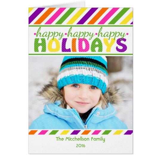 BRIGHT Stripes Colourful Christmas Card