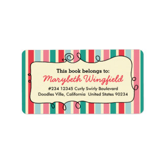Bright Stripes Girly Personalized Doodle Bookplate Address Label