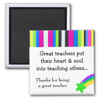 Bright Stripes Great Teacher Square Magnet